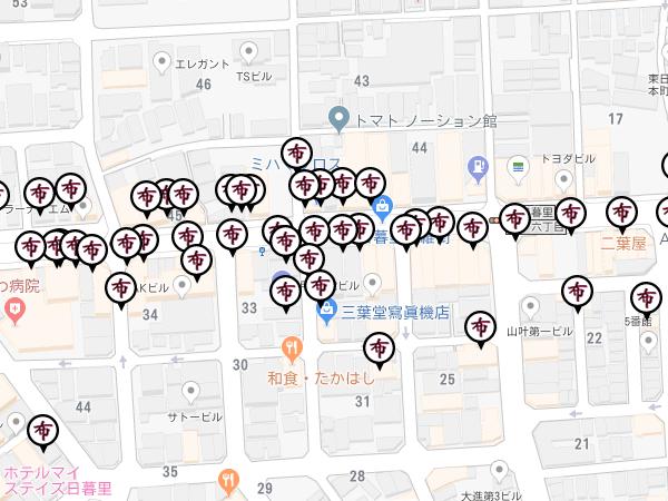 Google Maps APIを利用して日暮里繊維街まっぷを作成しました。