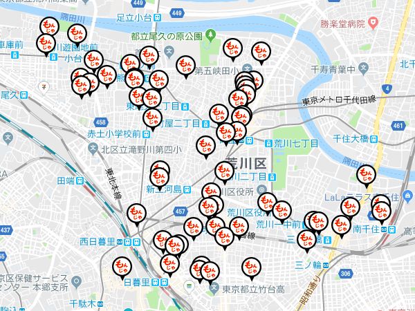 Google Maps APIを利用して荒川もんじゃまっぷを作成しました。
