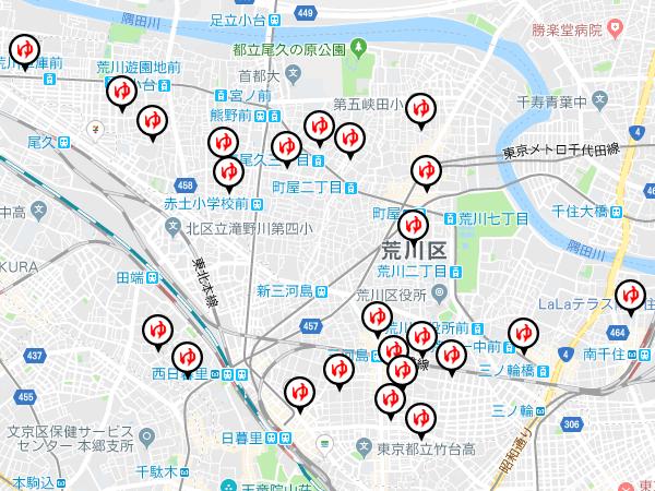 Google Maps APIを利用して荒川銭湯まっぷを作成しました。
